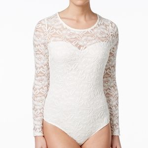 Material Girl Lace Illusion Bodysuit Sz 0/XS Nwt